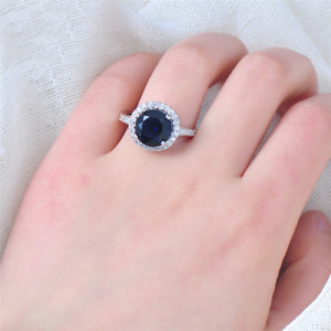 2 CT Round Blue Sapphire Halo Solitaire Women Engagement Ring 14K White Gold FN