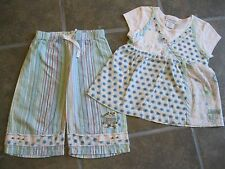 Naartjie 2008 Layered Poplin Floral Tunic White Stripe Pedal Beads Cool sz 3