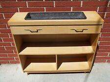 Vintage Mid Century Modern Bookcase W Built In Planter Blonde 50's 60's Retro