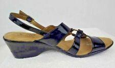 Hush Puppies Soft Style Womens Sandals Black Buckle Slingback Wedge Heels 9.5 W