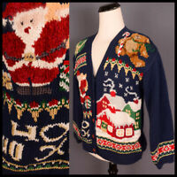**SNOWY COTTAGES** santa teddy bear button up SWEATER CARDIGAN ugly xmas M
