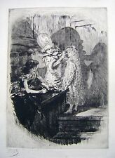 ETCHINGS FRENCH THEATRE THREE YOUNG GIRLS MAKING UP  CHARLES PAUL RENOUARD C1900