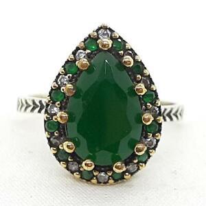 Deco 3.80ct Emerald & Diamond Cut White Sapphire 14K Yellow Gold 925 Ring SZ 8.5
