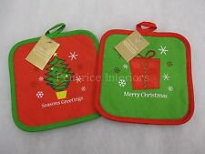 2 Christmas pot mats 'Merry Christmas' & 'Seasons Greetings' table decoration