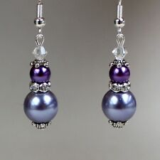 Vintage lilac mauve purple pearl silver earrings wedding bridesmaid accessory