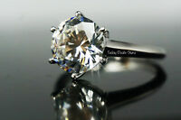 Solitare Engagement Ring White Gold 14K Promise Proposal Real Genuine 3 CT Knife