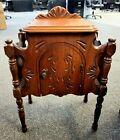 Vtg HUMIDOR CABINET Table TOBACCO Cigars Smoking Copper Liner