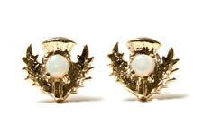 9ct Gold Opal Scottish Thistle Stud earrings Gift Boxed Studs Made in UK Xmas