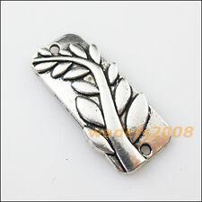 3 New Branch Leaf Connectors Tibetan Silver Tone Charms Pendants 15x33mm