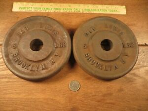 Vintage DAN LURIE Weight Plates (2) 5 lbs. Barbell Weights 10lbs Total Cast Iron