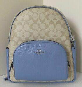 New Coach 5671 Signature Court Backpack Canvas & Leather Light Khaki Periwinkle