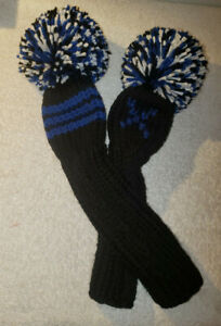 SET of 2 - Fairway Headcovers CLASSIC Hand-Knit Pom Pom Style - Black Blue White