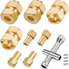 4Pcs Brass esteso 7mm HEX Ruota HUB COMBINATORE 4mm allargate per AXIAL SCX24 V3