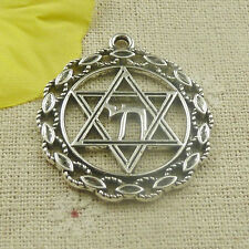 Free Ship 30 pieces tibetan silver round star charms pendant 38x34mm L-4813