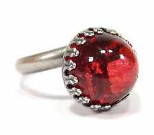 SoHo® Ring altsilber bohemia 13mm rot dome handgemacht böhmischer Glasstein 1960