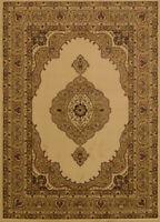 Ivory Traditional Oriental Carpet Medallion Scrolls Bordered Vines  Area Rug