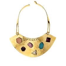 AURELIE BIDERMANN Gold Plated Viracocha Gemstone Bib Necklace S0208 NEW