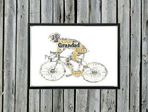 Personalised A4 Word Art Bike Dad Grandad Cycle Gift Photo Picture Print Image