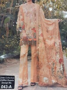 Rung Rasiya Linen designer 3 pcs suit stitched Size S/L/XL