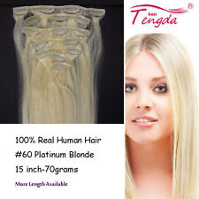 Platinum Blonde #60 Clip In 100% Human Hair Extensions  15inch