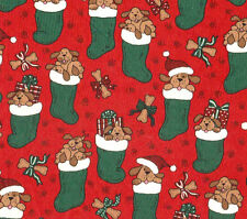Beachwood Christmas Noel Stocking w/Puppies Cotton Quilt Fabric Red Green BTY