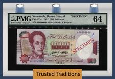 "TT PK 73s1 1991 VENEZUELA 1000 BOLIVARES ""SPECIMEN"" PMG 64 CHOICE UNCIRCULATED!"