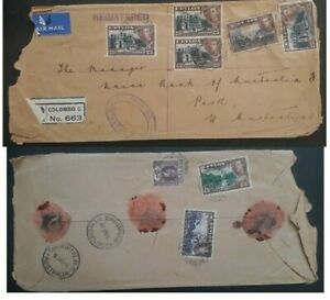 RARE 1940 Ceylon Registered Cover ties 8 stamps Colombo to Australia