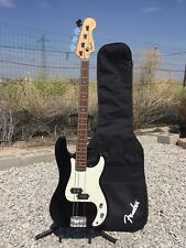 Vtg 1999 Squier By Fender P-Bass Electric Bass Guitar Black w Gigbag Need String