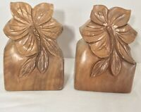 Pair Of Vintage Solid Wood Hand Carved Bookends Hawaiian Polynesian Hibiscus
