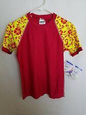 Radicool Skinz 14 Red Yellow Boys Kids Rash Guard Shirt Swimwear Hawaiian E16