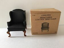 CONCORD MINIATURES BLACK LEATHER WING CHAIR FOR DOLL HOUSE