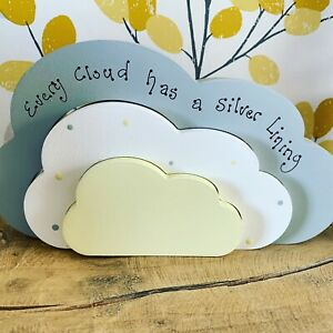 Freestanding Wooden Cloud, Every cloud Has A Silver Lining, Plaque Gift Friend