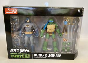 "DC Collectibles Batman VS TMNT Batman & Leonardo 6"" Figures Gamestop Exclusive"