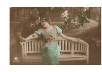 Park Bench Embrace Fancy Romantic Couple Victorian Lovers Postcard Hand Colored
