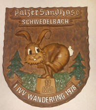 Vintage German Shield Plaque Germany Palzer Sandhase SCHWEDELBACH WANDERUNG 1978