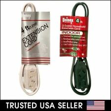 4ft 6ft 9ft 12 Household Power Extension Cord Cover 2 Prong 3 Outlet White Green