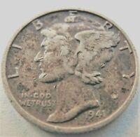 1941 S UNITED STATES, Mercury Dime grading VERY FINE.