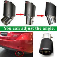 63MM Carbon Fiber Car Exhaust Tip Pipe Angle Adjustable Matt Universal 1pcs