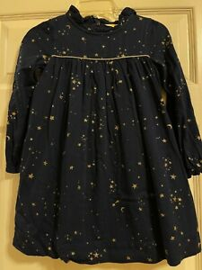 Mini Boden Navy with Gold Stars Dress Girls Long Sleeves Size 6-7