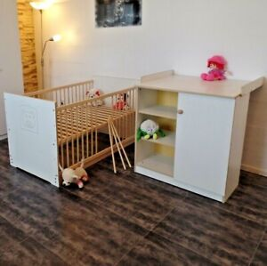 Chambre de Bébé Complet Commode Lit Lot 140x70 Conversion Jeunesse Blanc Neuf
