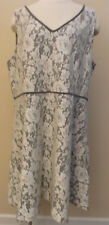 ANN TAYLOR Factory Sleeveless VNeck Gray Dress with Lace Overlay Fit Flare Sz 18
