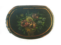 LOVELY ANTIQUE PAINTED PAPIER MACHE  POCKET SNUFF BOX  SNUFFBOX ,FLOWERS