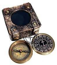 Antique Handmade Brass Engravable Direction Pocket Compass with Leather Box