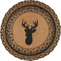 """Country Rustic Lodge Cabin DEER Braided Jute 13"""" Tablemat Trivet"""