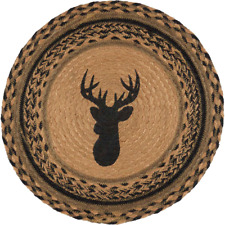 "Country Rustic Lodge Cabin DEER Braided Jute 13"" Tablemat Trivet"