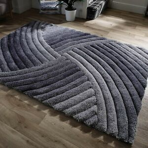 Hand Carved Shaggy Rug Furrow Silver Grey Living Bed Room Floor Area Carpet Rugs