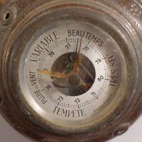 Barómetro Precisión Garantía Cobre Diseño Siglo Xx Vintage Pop Arte Deco Francia