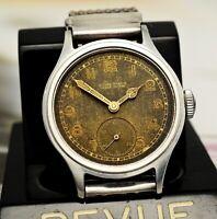 Vintage ULYSSE NARDIN, black, radium dial, Borgel steel stepped case- 40's watch