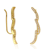 Climbing Earrings .925 Sterling Silver YG Plated CZ Wavy Curved Ear Climbers