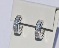 Echt 925 Sterling Silber Ohrringe Creolen mit Zirkonia Hochzeit Nr 230C